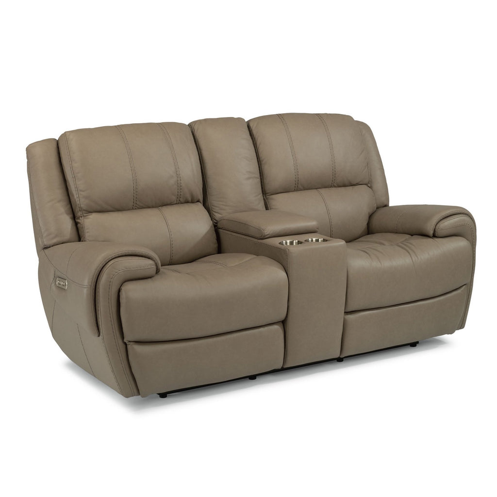 Nance Leather Power Reclining Loveseat with Console by Flexsteel