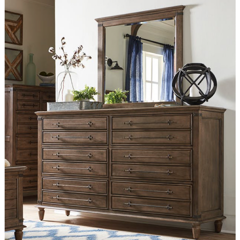 Farmhouse Chic 6-Drawer Dresser and Mirror by John Thomas Furniture