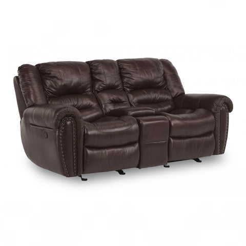 Town Leather Reclining Loveseat with Console by Flexsteel