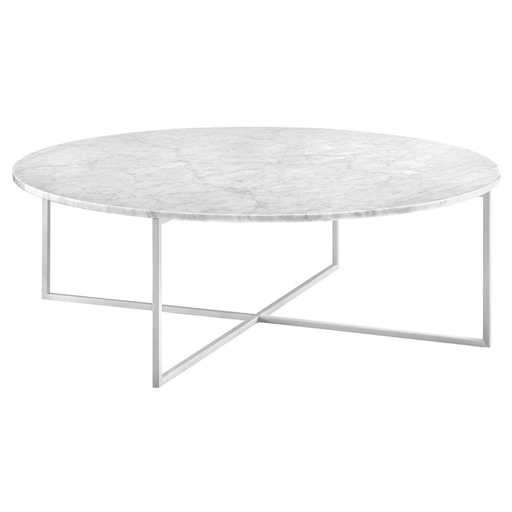 elle luxe marble coffee table white on white frame