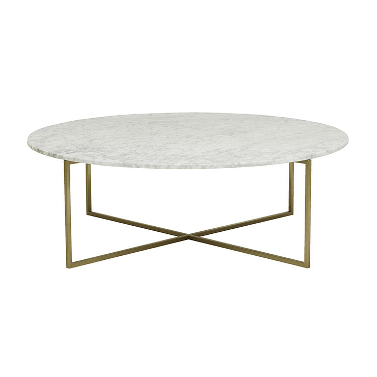 elle luxe marble coffee table white on brushed gold frame
