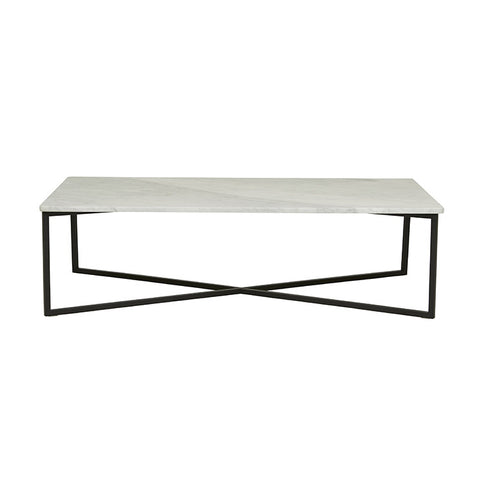 elle luxe marble rectangular coffee table white on black frame