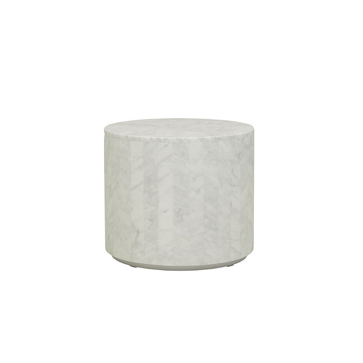 elle round block side table white