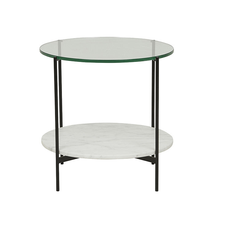 clermont layered marble side table black