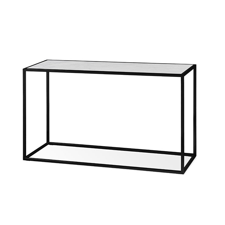 elle cube marble console 120 white on black frame