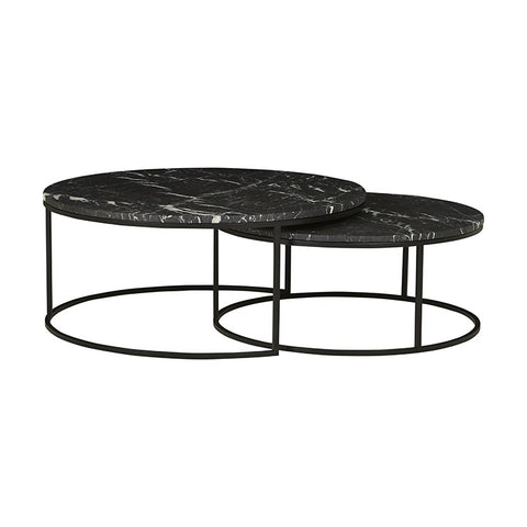 elle round marble nest coffee tables black frame/black marble