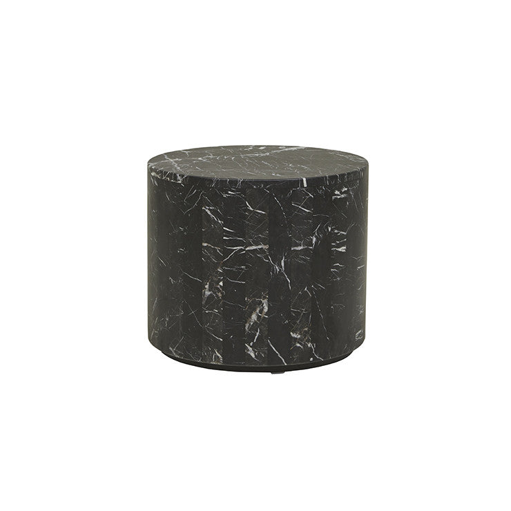 elle round block side table black