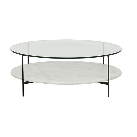 clermont layered marble coffee table black