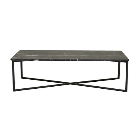 elle luxe marble rectangular coffee table black