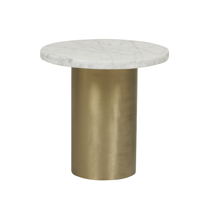 elle pillar side table brushed gold