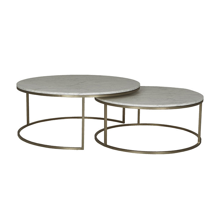 elle round marble nest coffee tables gold frame/white marble