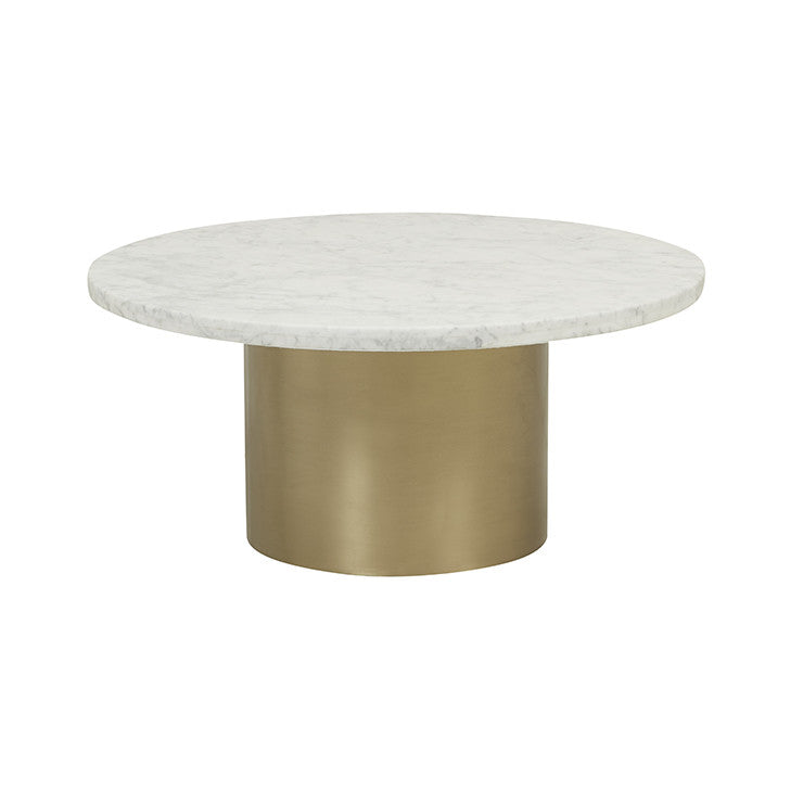 elle pillar coffee table brushed gold