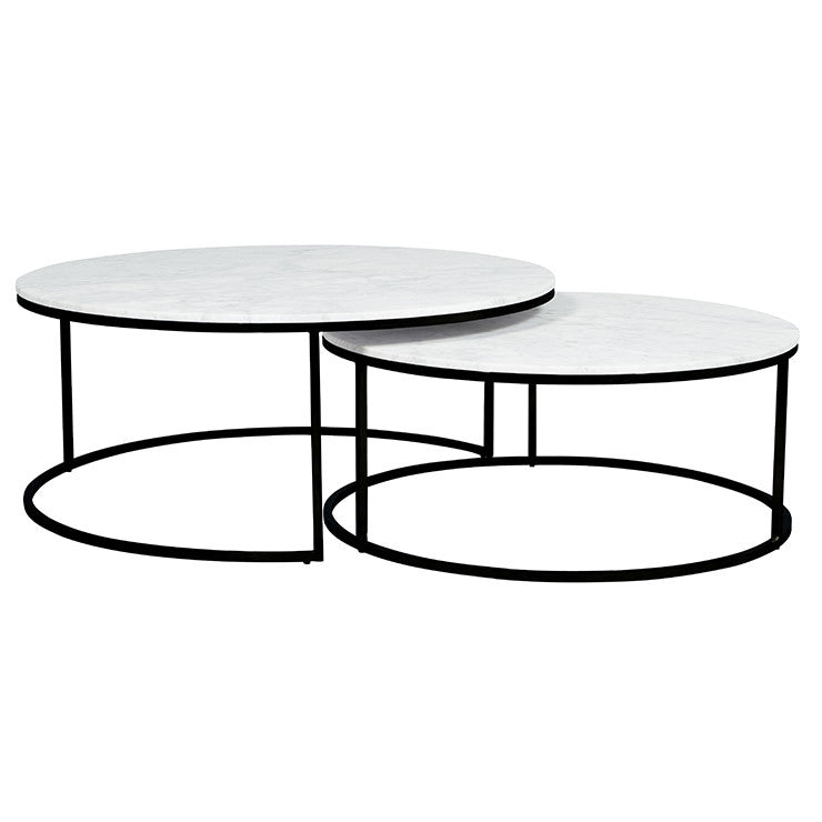 elle round marble nest coffee tables black frame/white marble