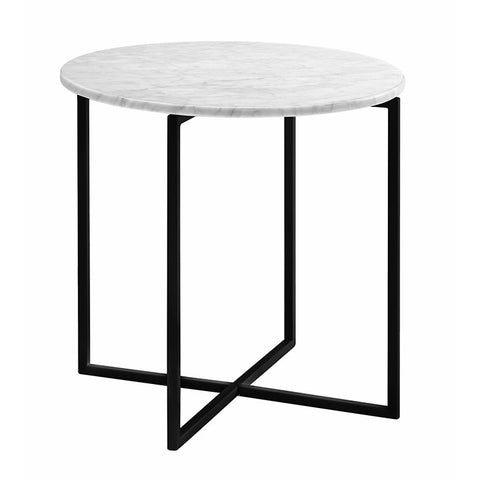elle luxe marble side table white on black frame