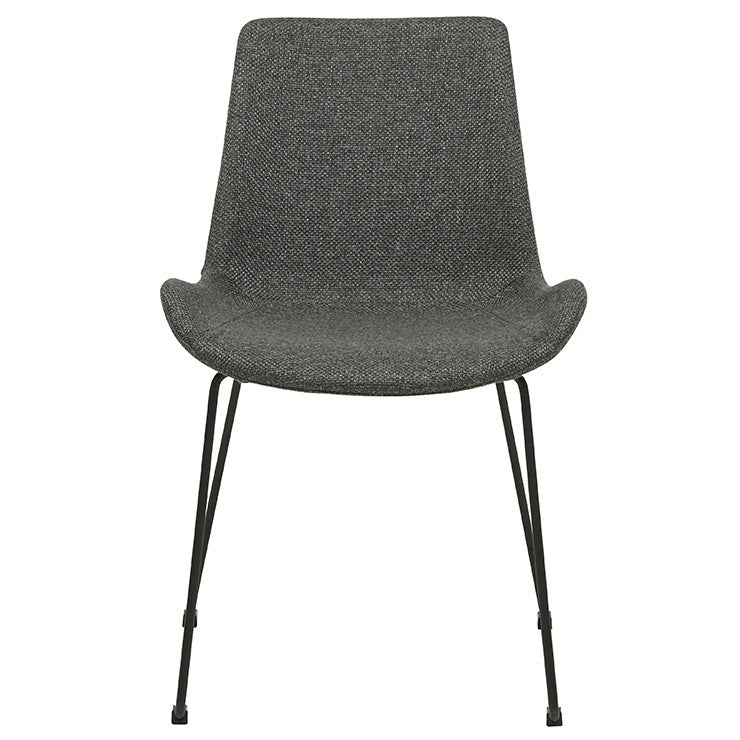 cleo sleigh dining chair woven charcoal