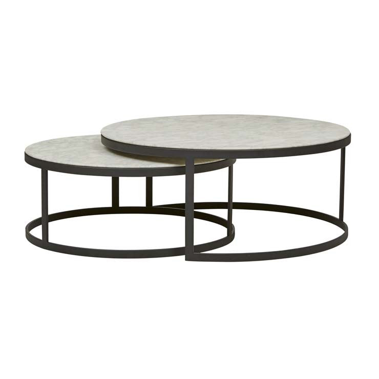 elle round marble nest flat coffee tables black frame/white marble