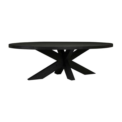 acre oval dining table black
