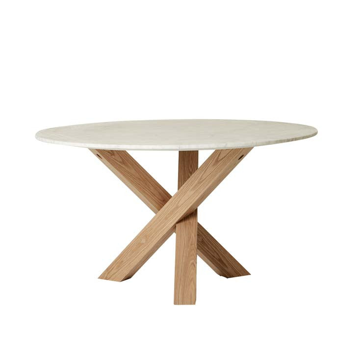 hudson round marble dining table six seat natural
