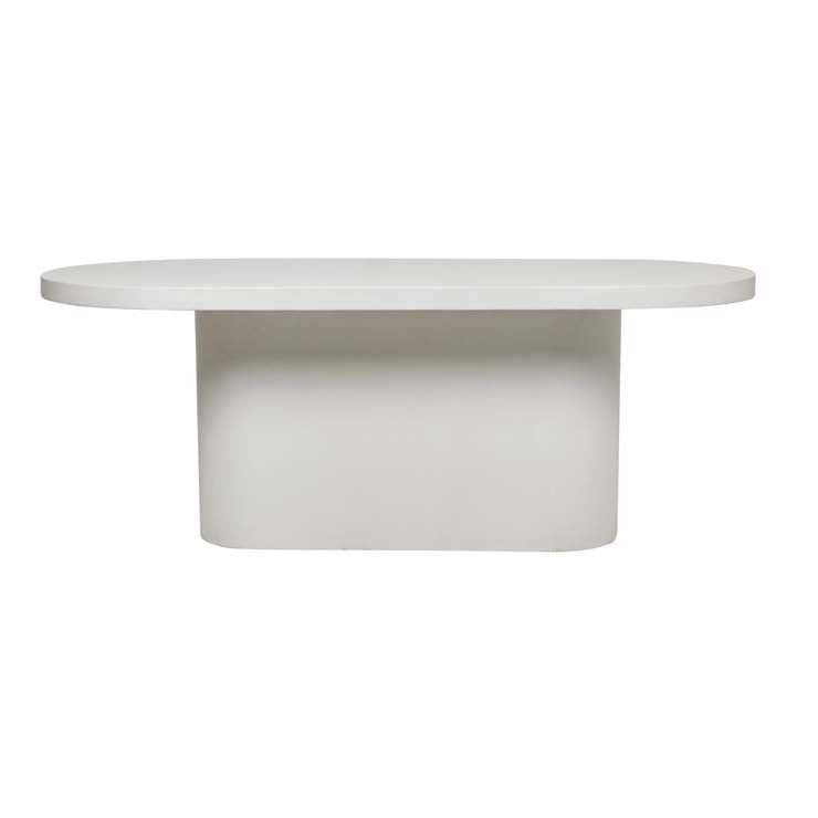 ossa concrete oval dining table white