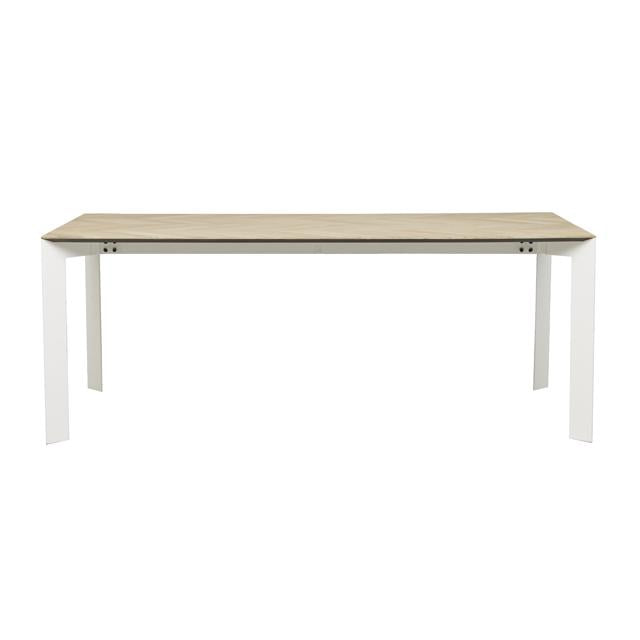 henley chevron dining table white leg ten seater
