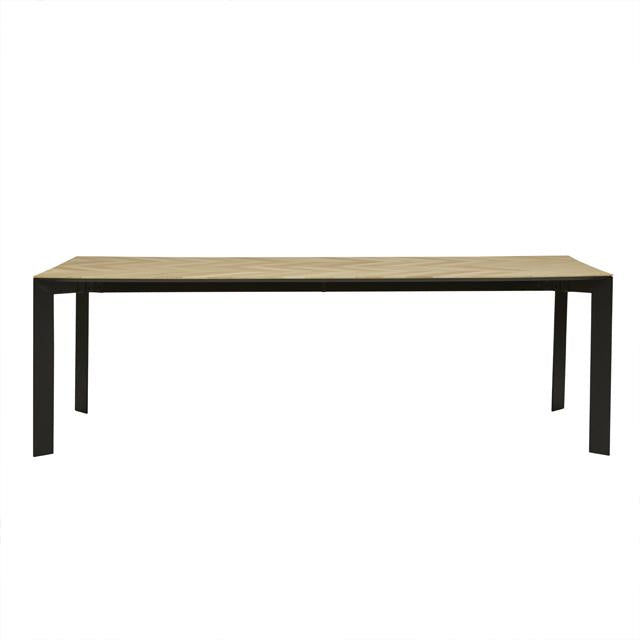 henley chevron dining table black leg ten seater