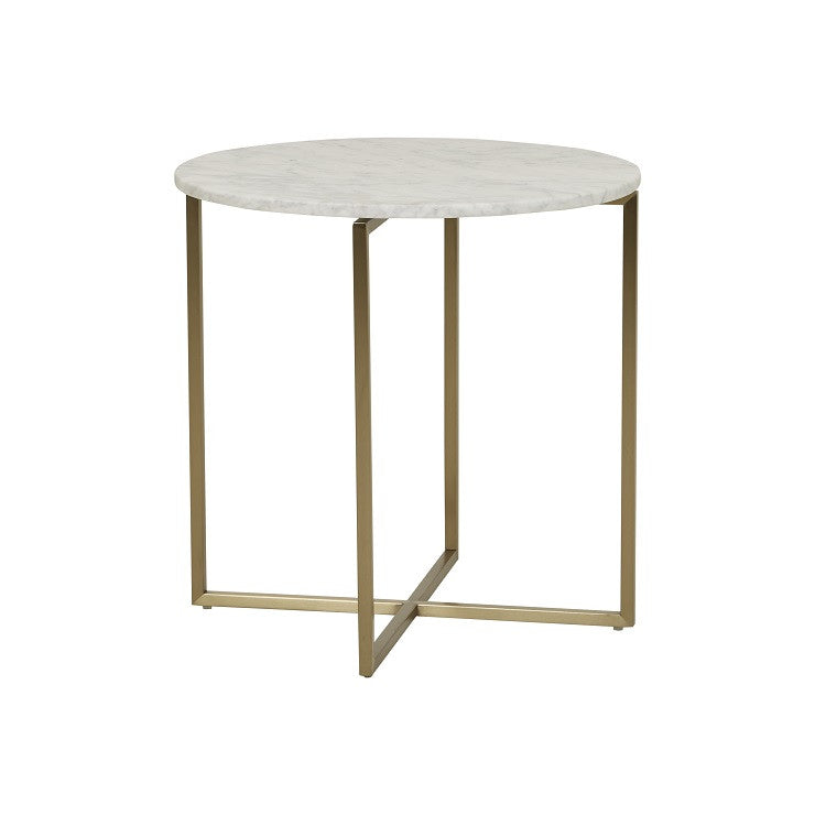 elle luxe marble side table white on brushed gold frame