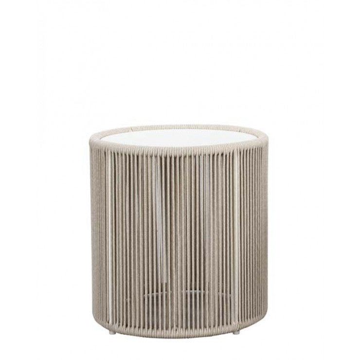 villa rope tall side table white