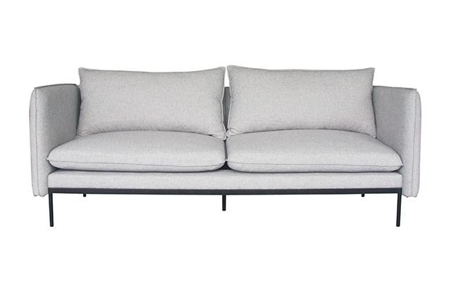 vittoria curve three seater sofa pale grey