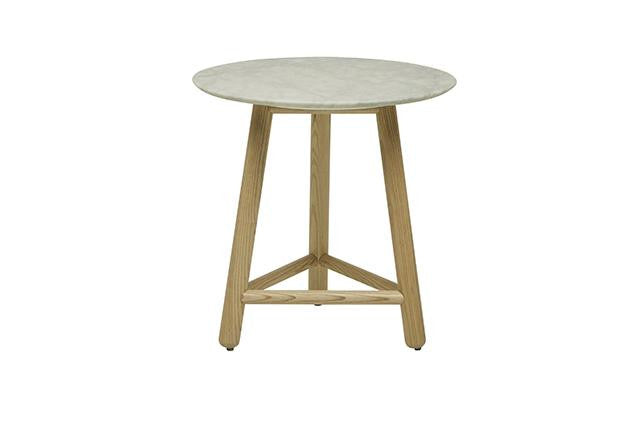 sloan marble round side table natural ash