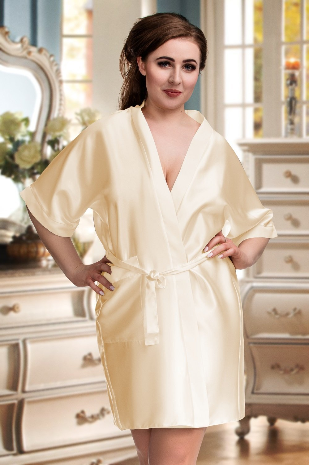 Plus Size Soft Satin Champagne Dressing Gown