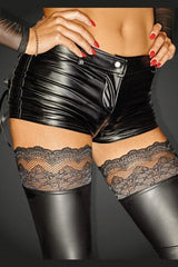 Noir Handmade Diva Collection Wet Look Shorts F138 - Divas Closet