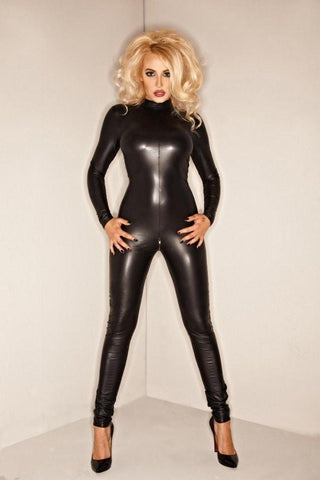 Noir Handmade F052 black wetlook cat suit - Divas Closet