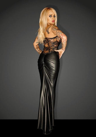 Long Corset Dress F140 by Noir Handmade Diva Collection - Divas Closet