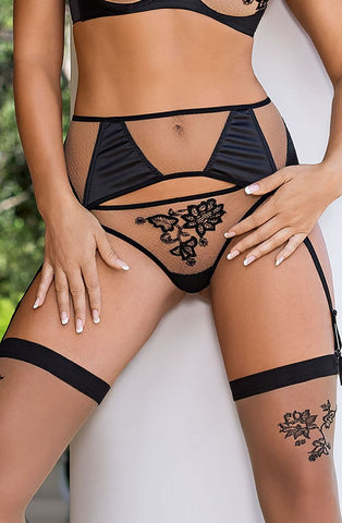 Roza Roza Mehendi Suspender Belt Black - Divas Closet