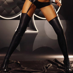 Black Wetlook Stockings - Divas Closet