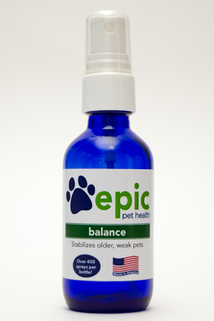 Balance All Natural Pet Supplement for Older or Weak Pets. Easy to use spray on body, food & water.