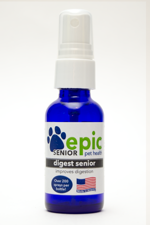 Digest Senior Natural Pet Remedy helps support gastric needs in senior pets. This is a combination of several Epic Pet Health products to support senior needs for digestion. Spray the odorless, tasteless remedy directly on food at mealtime. Can be. used on young pets who need extra digestive support. Made in USA.