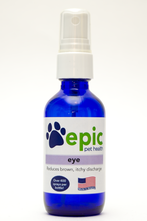 Eye All Natural Pet Supplement to Decrease Brown Discharge and Improve Eye Health. Easily mist over face and put in food and water. Does not prevent eye stains.