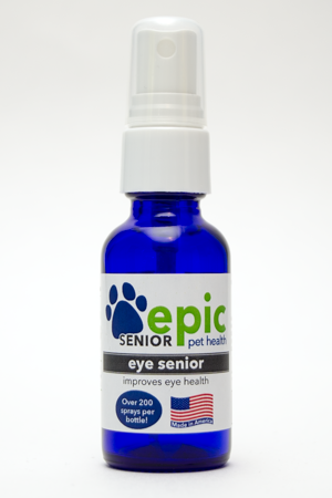Eye Senior Natural Pet Remedy by Epic Pet Health helps with eye problems that afflict senior pets. The concentrated formula is a combination of several Epic Pet Health products. Spray directly in pet's face -iIt doesn't sting & is refreshing. For fastest results also put in food and water. Made in USA.