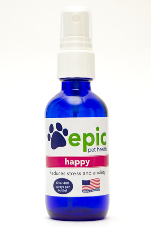 Happy All Natural Pet Supplement for Anxious Pets Experiencing Separation Anxiety and other Stressful Situations. Easy and quick to use by misting over face. Also put in food and water for continued support.
