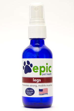 Legs All Natural Pet Supplement for Leg Strength and Joint Support. Easy to use by spraying on body, food and water. Works wonders for aging pets having difficulty with leg strength. Made in USA.