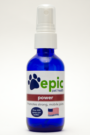 Power All Natural Pet Supplement for Joint Strength. Easy to use by spraying on body, food and water. Works well for older pets having difficulty with hip strength. Made in USA.