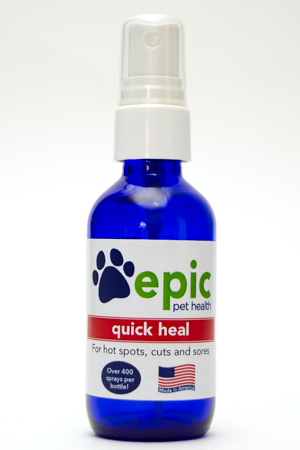 Quick Heal all natural pet supplement promotes fast healing in hot spots, cuts, sores and wounds. Useful after surgery to help pet recover sooner. Easy to use for groomers and pet owners alike. Spray on affected areas of the body and put in food and water for fastest results. Works well with the Fur supplement.
