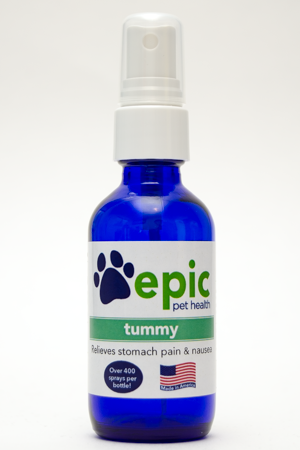The Tummy all natural pet remedy relieves stomach pain and nausea. May help reduce vomiting. Easy to use - just add to food and water. It's odorless and flavorless so your pet won't notice it on their food. Made in USA.