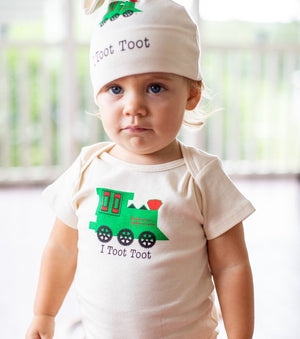 Toot Toot Funny Organic Baby Onesie
