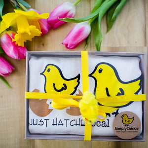 Organic cotton baby gift set LONG SLEEVE Just Hatched + SHORT SLEEVE Local Chick - Simply Chickie