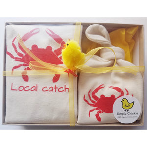 Organic Cotton Baby Gift Set - Organic baby romper + baby hat - Crab - Simply Chickie