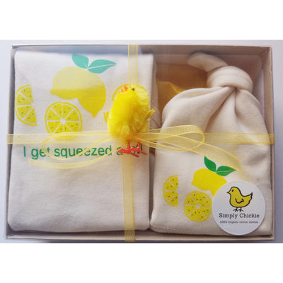 Organic Cotton Baby Gift Set - Lemon LONG SLEEVE AVAILABLE