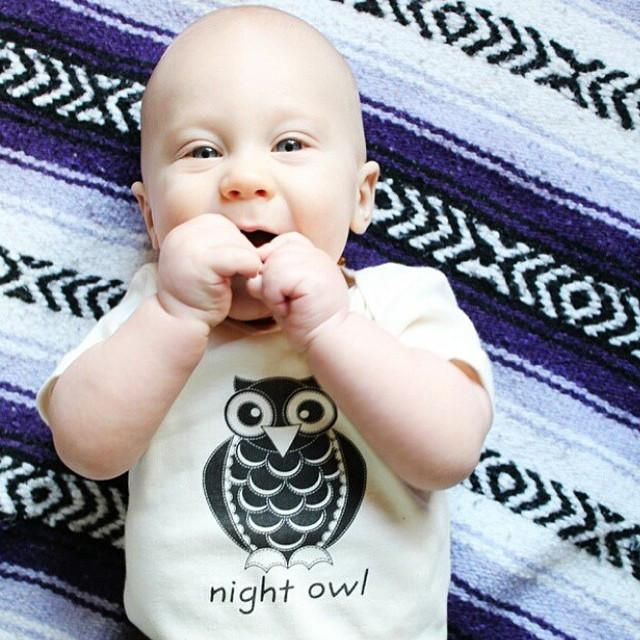 Organic cotton baby onesie - Owl - Simply Chickie