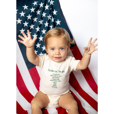 Organic cotton baby onesie - Boston - LONG SLEEVE AVAILABLE